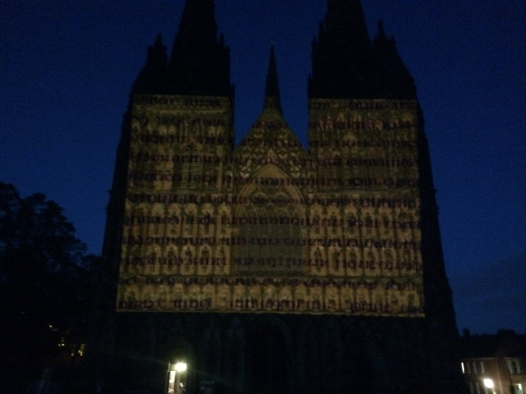 luxmuralis lichfield cathedral projection peter walker sculptor
