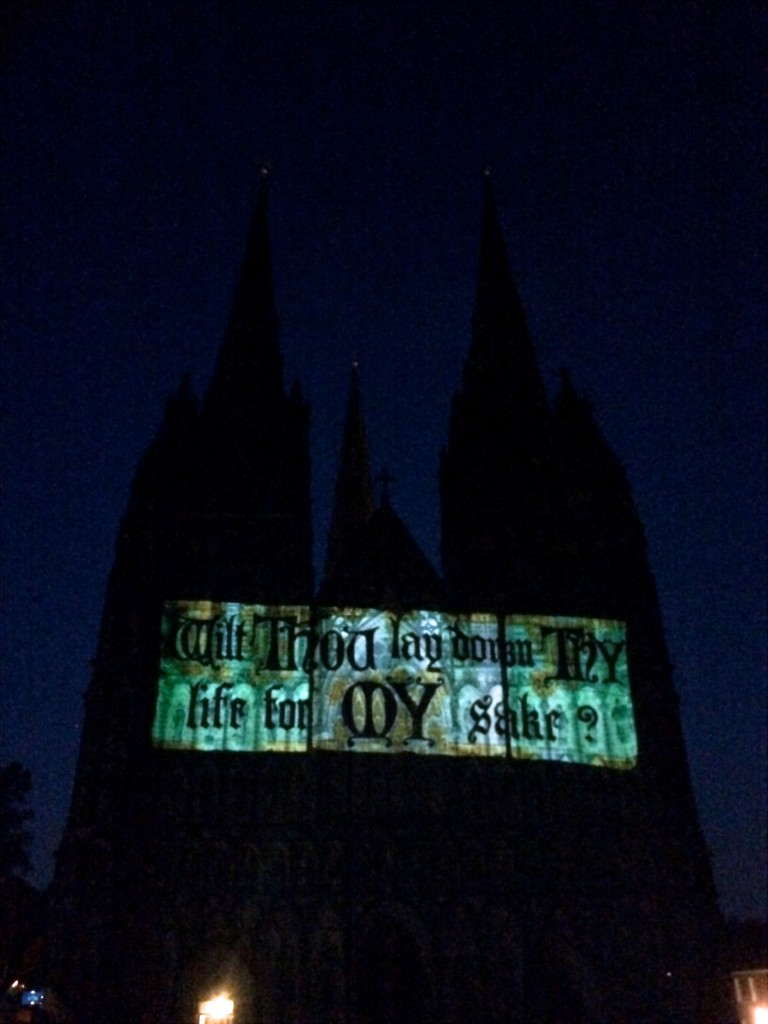luxmuralis projection lichfield cathedral son et lumiere peter walker sculptor