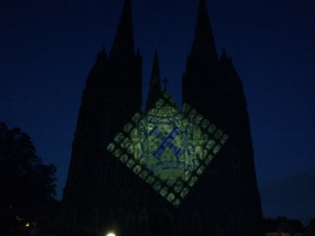 luxmuralis projection light lichfield cathedral peter walker sculptor