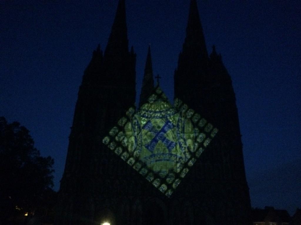 luxmuralis projection light lichfield cathedral peter walker sculptor