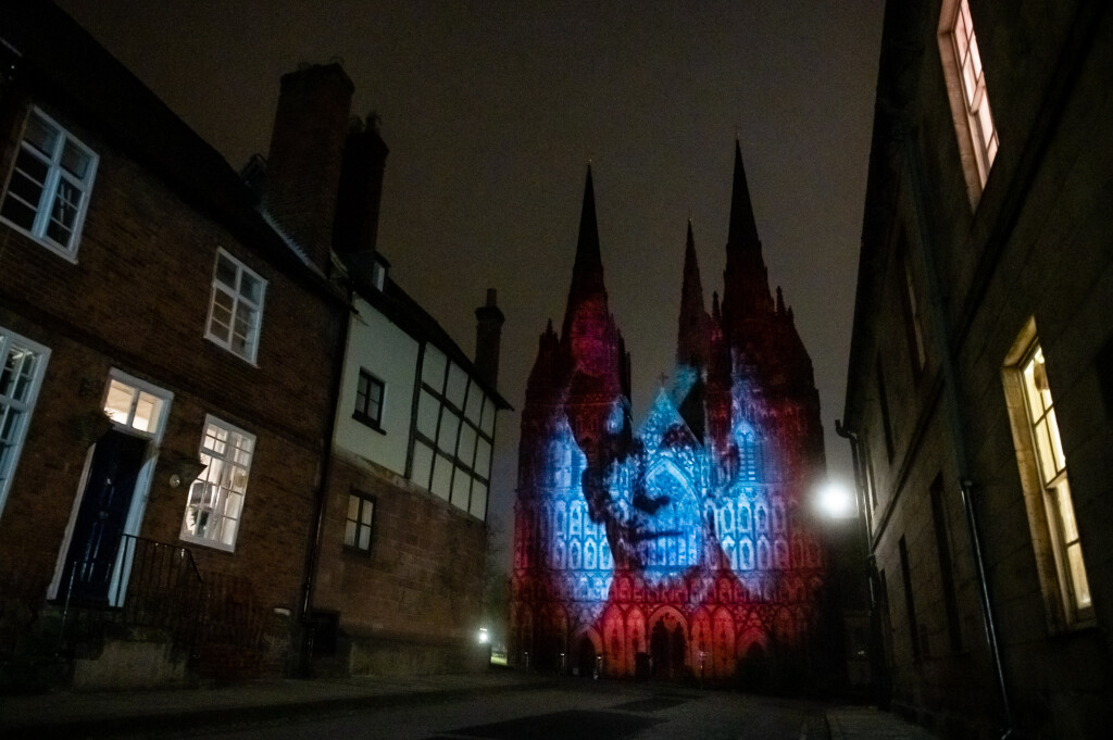 A Remembrance Day art work created by Luxmuralis is projected onto Lichfield Cathedral, November 6 2020